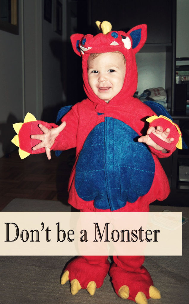 Little Man in a monster costume