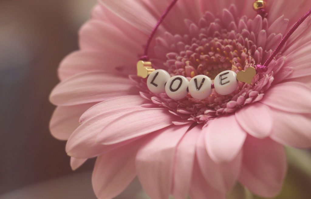 "flower with ""love"" in it"